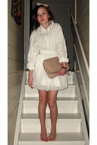white Bik Bok skirt - white vintage shirt - beige H&M purse - H&M accessories -