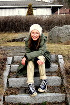 green H&M jacket - beige H&M pants - black Converse shoes - dads shirt - white H