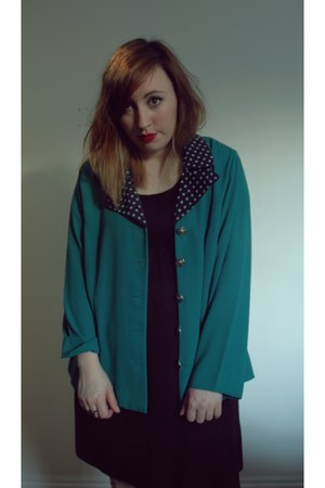 green polka dot vintage blazer - black jersey dress H&M dress