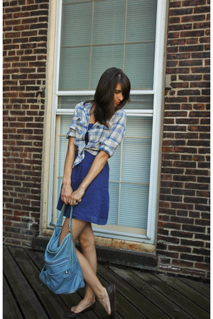 blue Target dress - woven JCrew shirt - hobo Marc by Marc Jacobs accessories