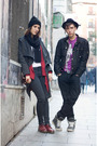Black-belstaff-jacket-gray-marc-jacobs-boots-vintage-hat-purple-marc-jacob