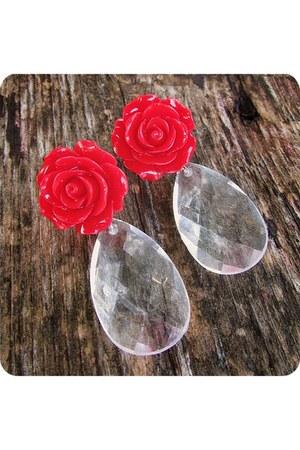 red handmade earrings