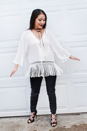black jeggings Target leggings - white fringe H&M blouse