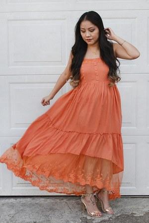 gold strap heels Cathy Jean heels - burnt orange lace dress