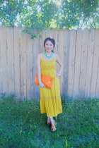 gold xhilaration dress - carrot orange Thrift Store purse - China sandals