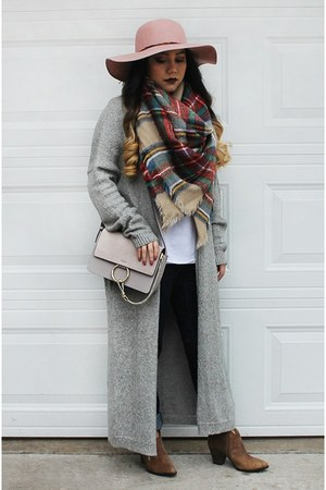 plaid scarf - brown ankle boots Splendid boots - light pink fedora merona hat