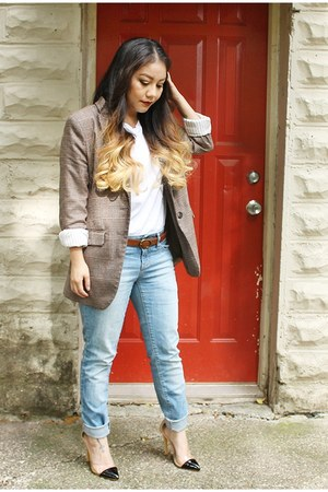 light brown plaid H&M blazer - black quilted velvet Target purse