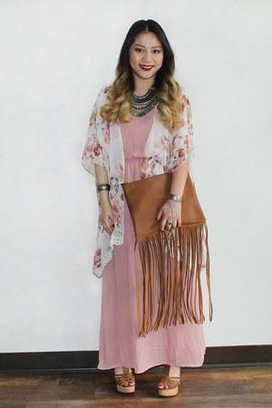 pink maxi dress Vinted dress - brown fringe clutch DIY purse