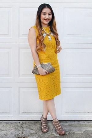 gold lace Forever 21 dress - charcoal gray diamond Burlington purse