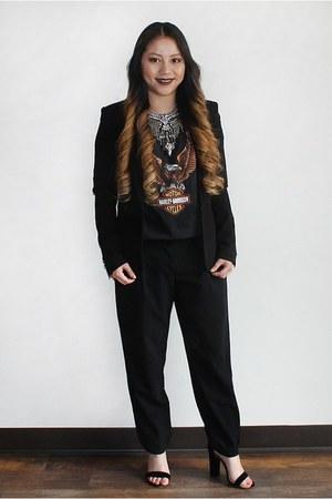 black H&M blazer - black t-shirt - black dress pants Charlotte Russe pants