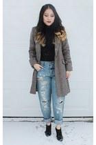 black ferragamo shoes - brown plaid H&M coat