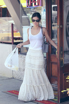ivory skirt - white top