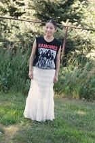 lace skirt Burlington skirt - Forever 21 t-shirt - DIY hair accessory