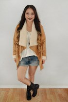 black Target boots - bronze suede Bare Anthology coat - Target shorts