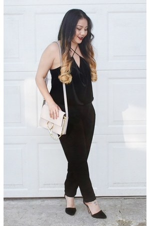 black velvet H&M top - silver chain Chloe Faye bag - black dress pants H&M pants