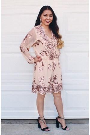 peach sequin Charlotte Russe romper - black strap Steve Madden heels