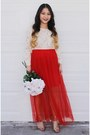 Off-white-lace-forever-21-blouse-red-pleated-h-m-skirt