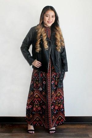 black Forever 21 jacket - floral maxi xhilaration dress