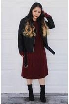 black Missguided boots - brick red merona dress