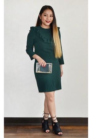 transparent Forever 21 purse - dark green ruffles H&M dress
