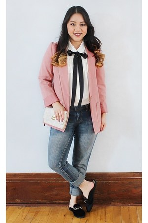 pink H&M blazer - white quilted Mossimo purse - white bow ruffles Zara blouse