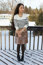 Marshalls skirt - black ankle boots Payless boots - Target sweater