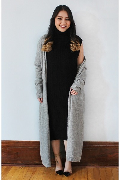 black Forever 21 dress - silver silence  noise Urban Outfitters cardigan
