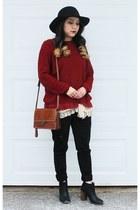 brown Patricia Nash bag - black madewell boots - black fedora H&M hat