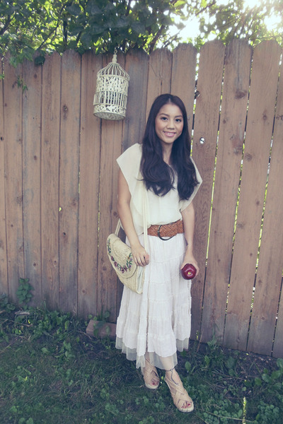 ivory flea market blouse - off white korea skirt - peach China wedges