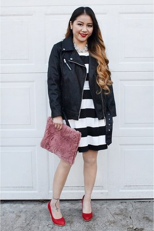 pink fur clutch DIY purse - black striped H&M dress - black Forever 21 jacket