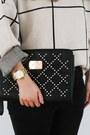 Silver-grid-chicwish-sweater-black-clutch-bebe-purse