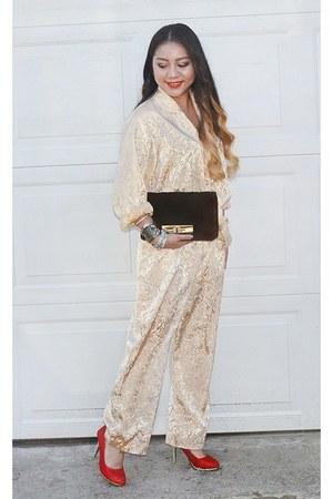 black velvet Target bag - gold pajamas thrifted intimate