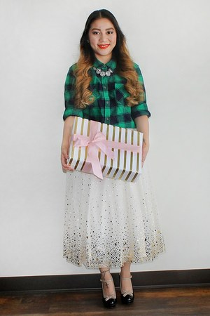 green plaid Target top - white Cat & Jack Girls skirt - from Korea heels