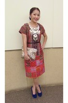 flea market dress - sequins clutch zipia purse - blue korea pumps