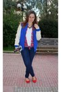 Navy-h-m-jeans-blue-varsity-asos-jacket-off-white-zara-bag