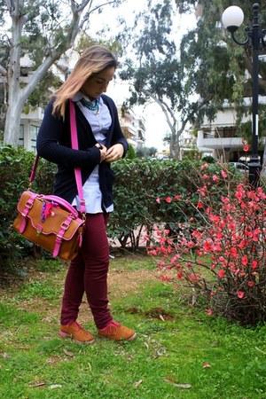 brick red H&M pants - navy Sfera jacket - sky blue striped Stradivarius shirt