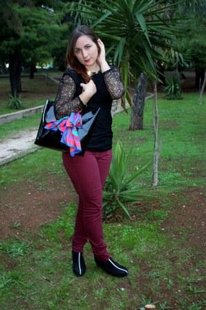 black lace BLANCO shirt - black DKNY bag - crimson H&M pants