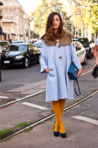 sky blue leopard print vivetta coat - gold H&M socks - navy Nobrand heels