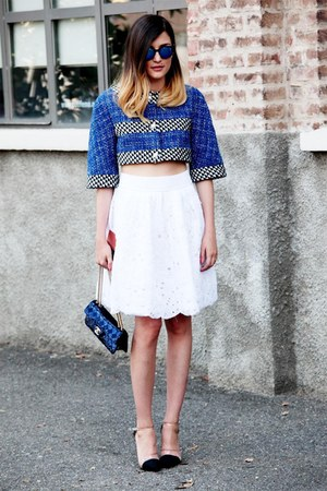 tweed Chanel jacket - sequins Chanel bag - puffy Chanel skirt