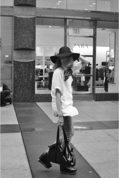 black Jeffrey Campbell shoes - black American Apparel hat - gray DrDenim jeans -