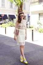 light yellow sangallo H&M skirt - pink studded leather Paula Cademartori bag