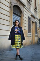 navy sessun coat - mustard MSGM dress - black Comme des Garcons bag