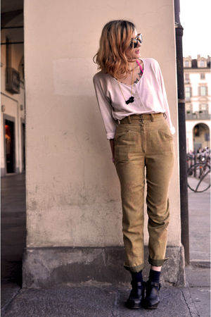 black Vintage clogs shoes - pink MALO shirt - gold vintage pants - black retrosu