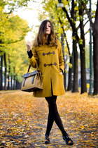 mustard wool sessun coat - carrot orange silk flower Jil Sander shoes