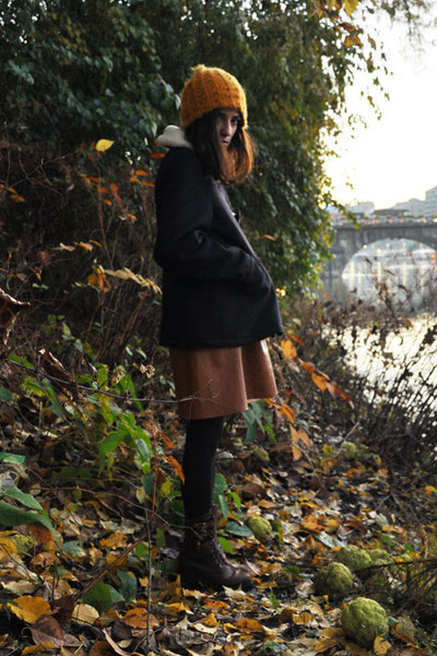 mustard H&M hat - tawny what s inside you skirt - crimson vintage boots - navy s