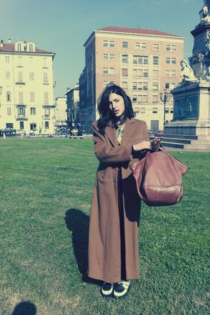 brown long wool armani coat - black creepers shoes - brown vintage Guia s bag