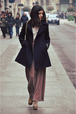navy wool sessun coat - peach silk Zara shirt - navy leather Chanel bag