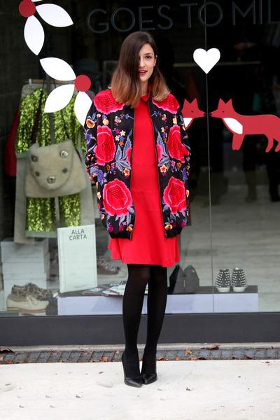 red asos jacket - red vivetta dress - black Zara heels