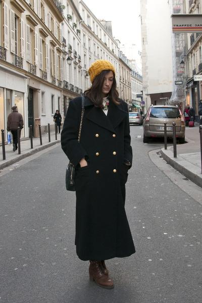 orange H&M hat - forest green Gerani coat - tawny vintage shoes - navy Chanel ba