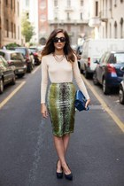 dark gray super sunglasses sunglasses - dark green Whats inside you skirt